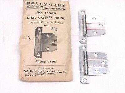 Nos! Vintage Holly Made Chrome Steel Flush Hinges, Red Lines, Stepped Corners