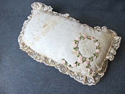 Antique victorian ribbonwork flowers plumeti lace rim cushion pillow for dolls