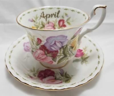 Royal Albert Flower of the Month Series APRIL Sweet Pea Tea Cup & Saucer