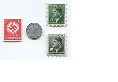 World War Two WW2 German Third Reich 1pf Coin and Unused Stamps