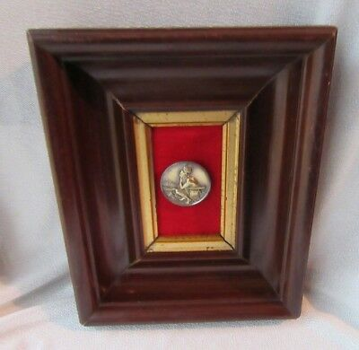 Rare Antique Brass American Indian Hunter Button Displayed in Shadowbox Frame