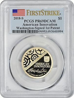 2018-S American Innovation Dollar PR69DCAM PCGS First Strike Washington Patent
