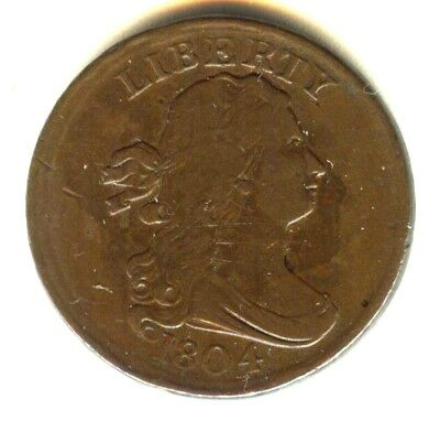 1804 Draped Bust Half Cent 100% Original VF ++ No Cleaning Natural Color
