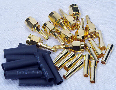100 Lot Antenna Cable Connector SMA MALE Crimp RG-174 316 LMR-100 Gold Plated