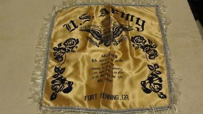 "Vintage U.S. Army Fort Benning Ga Mother Silk Souvenir Pillow Cover 17"" x 17"""