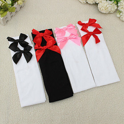 Women Girls Over the Knee Socks Thigh High Stockings With Bows School Cosplay