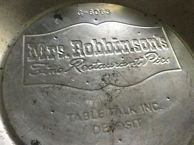 Vintage Tin Pie Dish Advertising Tray - Mrs. Robinson's Fine Restaurant Pies