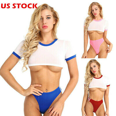 27b4db9a45c Women Sexy Yes Daddy Crop Tops Short Tank Vest Bra Blouse G-string Thongs  Outfit