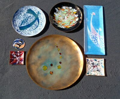 Vintage Enamel on Copper 7 PC PLATE TRAY DISH LOT Abstract Swirl Peacock Dolphin