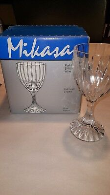Mikasa Crystal Wine Glasses 4 Park Lane Goblets Glass New In Box 6 1/4 Inches