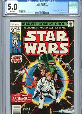 Star Wars #1 CGC 5.0 White Pages Marvel Comics 1977
