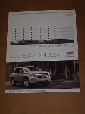 2017 Cadillac Escalade Esv Exterior Interior Color Chip Chart Brochure Mint!