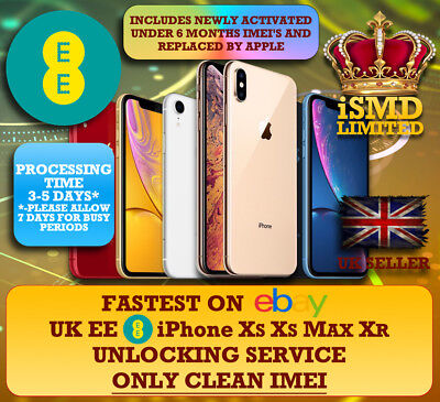 Fast Unlock Uk Ee Tmobile New Iphone Xs Xs Max Xsmax Xr Service Under 6 Months