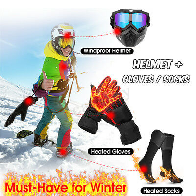 Mask Goggles + Electric Heated Socks + Heated Gloves Set Motorcycle Ski Winter