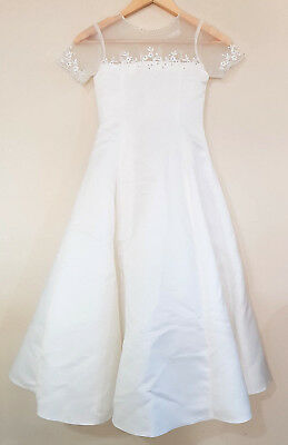 BRIDAL CHIC Gorgeous WHITE Girls Junior Bridesmaid Dress Formal Size 8