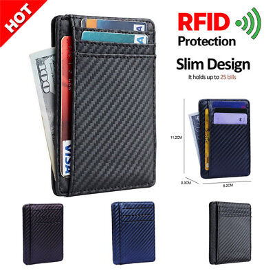 Slim Front Pocket Wallet ID Credit Card Holder Case RFID Blocking Penny Purse