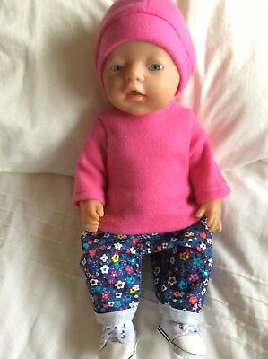 "Doll Clothes to fit 17"" Baby Born doll ~ 3 Piece Set. Pink ~ Flowers"