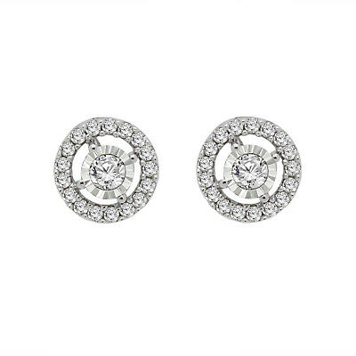 For Women 1/3CT Real Diamond Halo Cluster Stud Earrings In 925 Sterling Silver