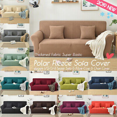 1/2/3/4 Seater Sofa Cover Elastic Polar Fleece Knitted Fabric Couch Pillow Case