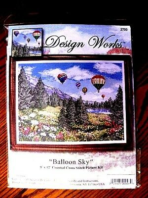 "BALLOON  SKY    9"" x 12""     Design Works    Counted Cross Stitch Kit"