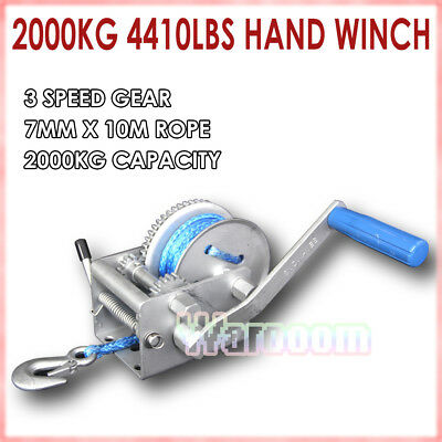 Hand Winch 2000KG/4410LBS Dyneema Synthetic Rope 3 Speed Car Boat Trailer 10M