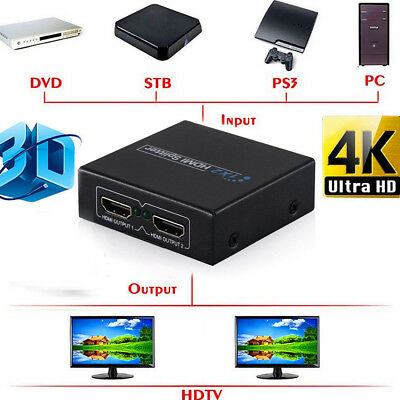 NEW Full HD HDMI Splitter Repeater Amplifier 3D 1080p 4K Switch Box 1 in 2 out