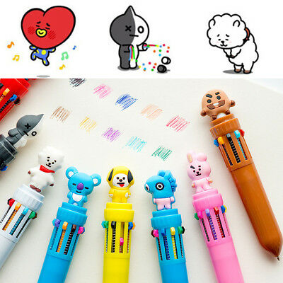 10 in 1 Creative BTS Cartoon Colorful Ballpoint Pen Student Stationery Practical