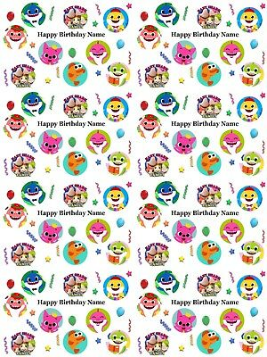 Pinkfong Baby Shark Personalised Birthday Gift Wrap ADD NAME/S CHOOSE BACKGROUND