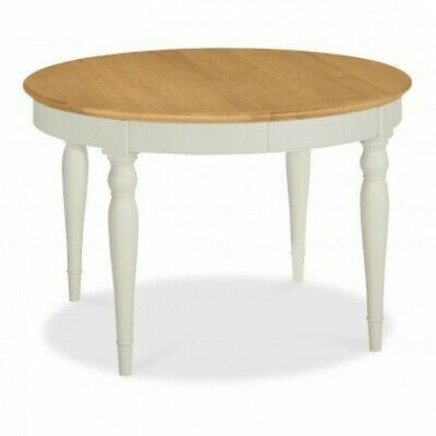 Georgian Painted Grey & Oak Furniture Round Circular Extending Dining Room Table