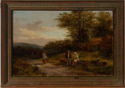 Henry Clements - Signed & Framed 1883 Oil, Rural Scene with Figures and a Cart