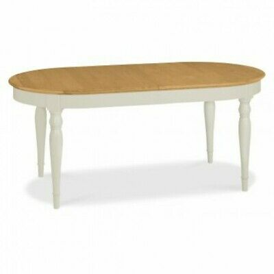 Georgian Painted Grey & Oak Furniture Round Oval Extending Dining Room Table
