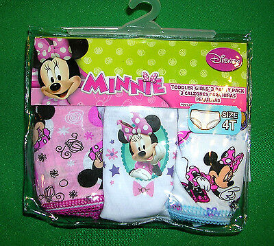 "L@@k  ""MINNIE""TODDLER"" GIRLS  THREE PAIR  PKG. OF PANTIES   SIZE 4T  NWT"