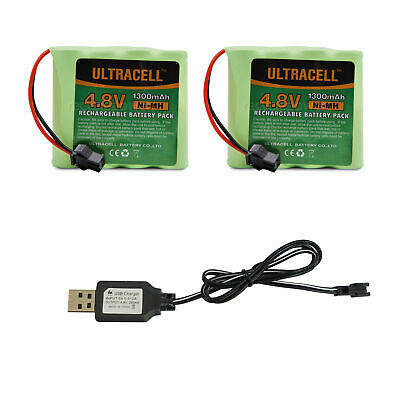 2x 4.8V Rechargeable Battery Pack 1300mAh Ni-MH Cell SM Plug + USB Charger Cable