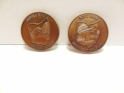 (2) Ohio Covered Bridge Coins, Middle Road Conneaut & Root Road, Monroe Township