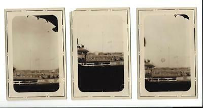 Lot Of 3 Amatuer Photographs - Hot Air Ballon At Horse Track 1920's