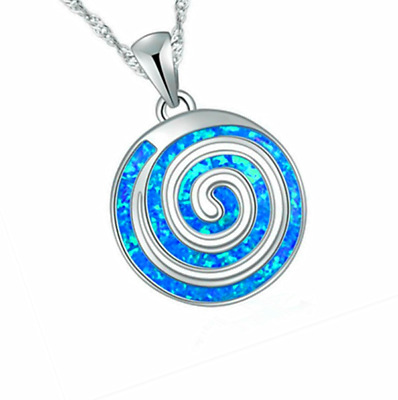 Woman Fashion 925 Silver Jewelry Blue Fire Opal Charm Pendant Necklace Chain HOT