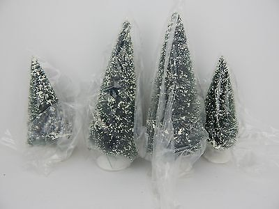 Dept 56 Village Frosted Topiary Trees Set of 4 Small #52019 D56 Never Displayed