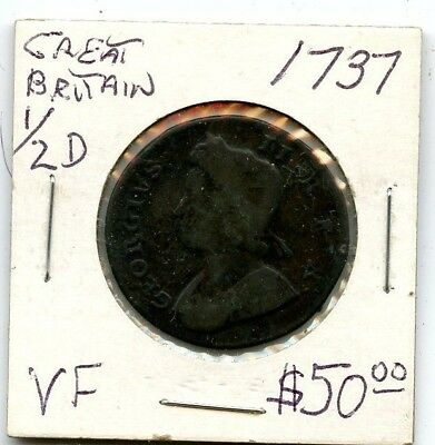 1737 Uk Great Britain Vf 1/2 Penny Very Nice!!!!...starts @ 2.99