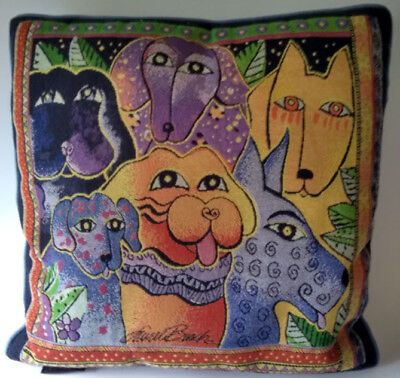 """Laurel Burch Tapestry Pillow Dogs Canine Puppies 18"""" Square"""
