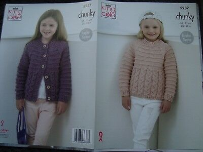 d24d28dbf KING COLE 5287 Knitting Pattern Childrens Sweater and Cardigan in ...