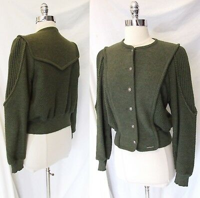 Vintage GEIGER Austria Olive Wool Hand Knit Work of Art Cardigan Sweater S M