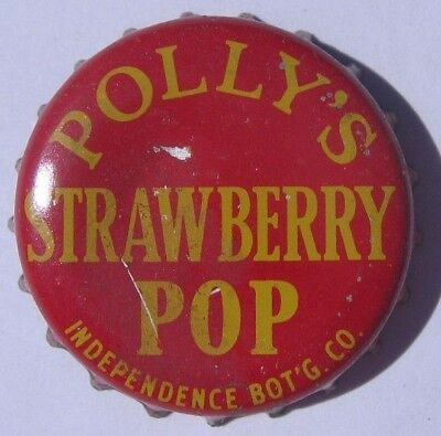 Polly's Strawberry Pop Soda Bottle Cap; Independence, Missouri; Used Cork