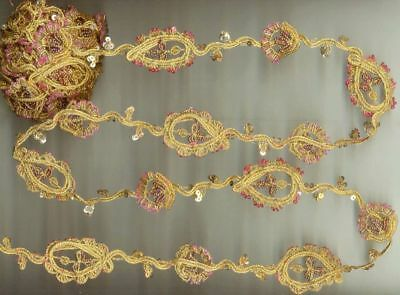 MANY APPLIQUES SEQUINS GLASS BEADED HAND EMB 3 Yard Long Golden Zari LACE TRIM