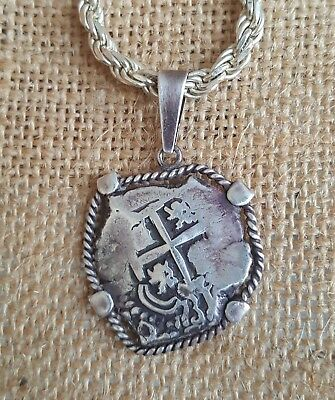 Ancient Spanish Colonial Pirate Shipwreck 2 Reales Cob Coin 925 Silver Necklace