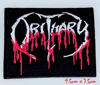 Obituary Blood Drip Logo Death Iron On Embroidered Patch#1098