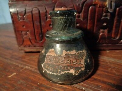 Antique UNIVERSAL GREEN GLASS INK Bottle jar INKWELL twist marks on neck