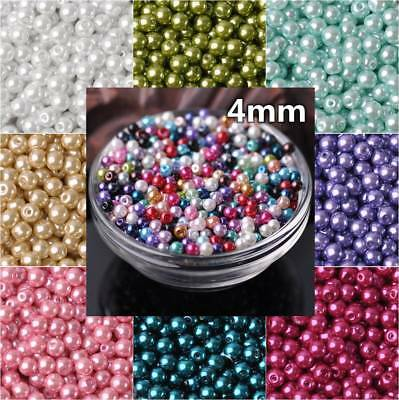 200pcs 4mm Round Glass Pearl Loose Spacer Beads Jewelry Making DIY (28 Colors)