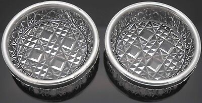 Pair Of Victorian Finger Bowls - Sterling Silver & Hobnail Glass 1895 Antique
