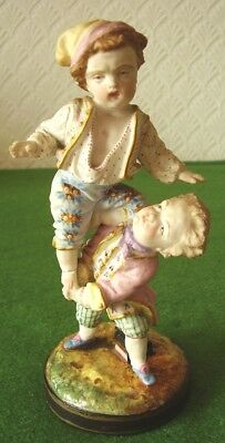 ANTIQUE BISQUE FIGURE VION & BAURY TWO YOUNG BOYS PLAYING STUNNING DETAIL c 1870