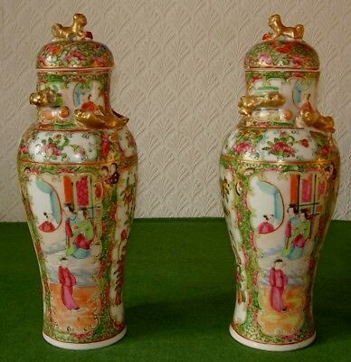 ANTIQUE CHINESE FAMILLE ROSE COVERED VASES FIGURES FLOWERS BUTTERFLIES circ 1870